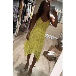 Yellow Lace Midi Dress